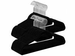 Cintres antidérapants - pliables - crochet rotatif - 100 pièces - noir
