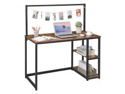 Bureau vintage - 120 cm - 2 étagères - avec barre d'accroche - brun vintage