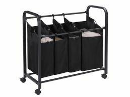 Panier à linge mobile - 4 compartiments - 140 litres - 84x88x39 cm - noir