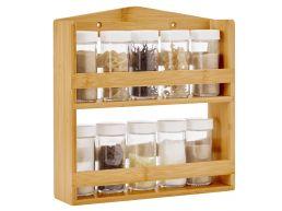 Range épices - à suspendre - avec 10 pots à épices en verre - bambou