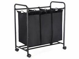 Panier à linge mobile - trois compartiments de 44 litres - 77 x 41 x 81,5 cm - noir