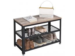 Deuxième chance - Meuble à chaussures - look industriel - 73x45x30 cm - gris clair