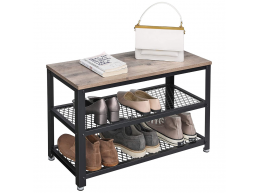 Meuble à chaussures - look industriel - 73x45x30 cm - gris clair