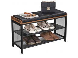 Meuble à chaussures - avec coussin simili cuir - 80x48x30 cm - vintage brun