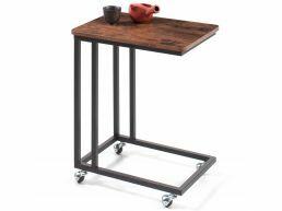 Table d'appoint - avec roulettes - look vintage - 50x62x35 cm - vintage brun