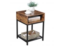 Table carrée - compartiment ouvert - étagère en filet - 40x58x40 cm - vintage brun