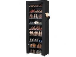 Deuxième chance - Meuble à chaussures - 27 paires de chaussures - 58x160x28 cm - noir