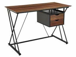 Bureau - structure métallique - 2 tiroirs - 110x76x55 cm - brun vintage