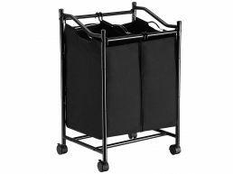 Panier à linge mobile - 2 compartiments de 45 litres - 51x80x41 cm - noir