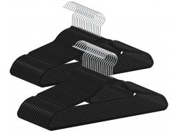 Cintres antidérapants - pliables - crochet rotatif - 50 pièces - noir