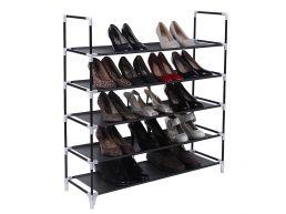 Meuble à chaussures - 5 niveaux - métal - 88x91x28 cm - noir