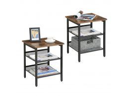 Lot de 2 tables d'appoint - tablettes réglables - 40x40x50 cm - aspect industriel - vintage brun