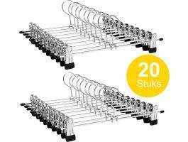 Cintres antidérapants - largeur réglable - crochet rotatif - 20 pièces - gris