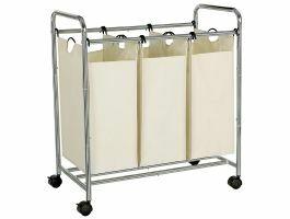 Panier à linge mobile - 3 compartiments de 44 litres - 77x81,5x41 cm - crème