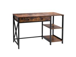 Bureau - 2 étagères 1 tiroir - 120x80x60 cm - brun vintage