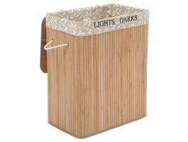 Panier à linge - 2 compartiments de 50 litres - 52x63x32 cm - motif à fleur/bambou