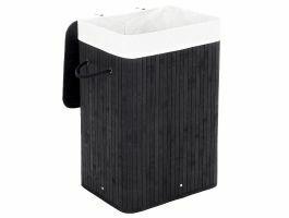 Panier à linge avec couvercle - bambou - sac en coton - 72 litres - 40x60x30 cm - noir
