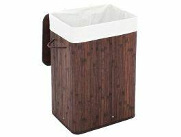 Panier à linge avec couvercle - bambou - sac en coton - 72 litres - 40x60x30 cm - brun foncé