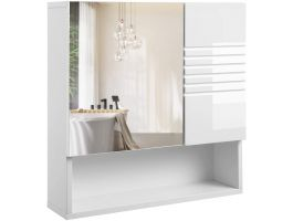 Armoire avec miroir - 55x54 cm - blanc brillant