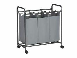 Panier à linge mobile - 3 compartiments de 44 litres chacun - 77x41x81,5 cm - gris