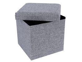 Pouf - pliable - sans pieds - tissu - 38 cm - gris