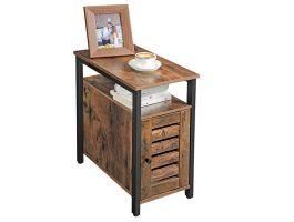 Table de chevet - aspect industriel - 30x60x50 cm - noir/brun foncé