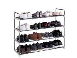 Meuble à chaussures - 4 niveaux - métal - 92x74x30 cm - gris