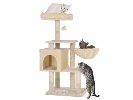 Arbre à chat - plusieurs niveaux - avec maison et jouet - 50x110x40 cm - beige