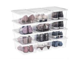 Range chaussures - avec couvercle - 12 pièces - 36x13,5x22 cm - transparent