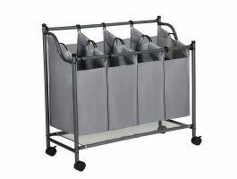 Panier à linge mobile - 4 compartiments de 35 litres chacun - 81x88x39 cm - gris