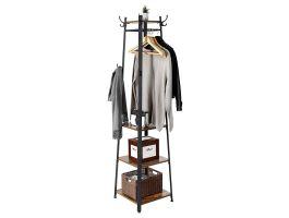 Porte-manteau sur pied - look industriel - 8 crochets - 45x181x45 cm - brun/noir