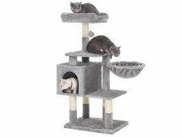 Arbre à chat - plusieurs niveaux - avec maison et jouet - 50x110x40 cm - gris