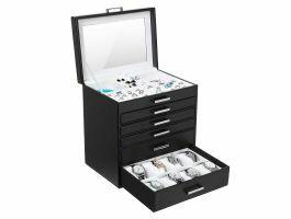 Boîte à bijoux XL - avec miroir - 6 niveaux - noir