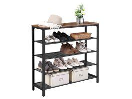 Meuble à chaussures - look industriel - 100x93x30 cm - marron/noir