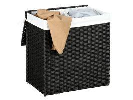Panier à linge tissé - 2 compartiments de 55 litres chacun - rotin synthétique - 57x60x33 cm - noir