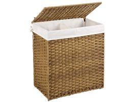 Panier à linge tissé - 2 compartiments de 55 litres chacun - rotin synthétique - 57x60x33 cm - brun