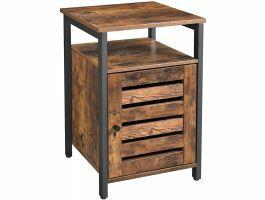 Table de chevet - aspect industriel - 40x60x40 cm - noir/brun foncé