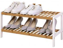 Meuble à chaussures - 2 niveaux - jusqu'à 8 paires de chaussures - 70x33x26 cm - bambou
