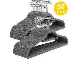 Cintres antidérapants - pliables - crochet rotatif - 50 pièces - gris