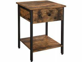 Table d'appoint - aspect industriel - avec tiroir et étagère - brun foncé