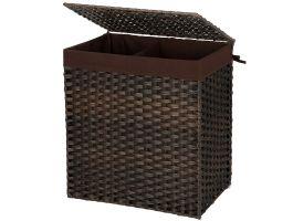 Panier à linge tissé - 2 compartiments de 55 litres chacun - rotin synthétique - 57x60x33 cm - brun foncé