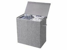 Panier à linge pliable - 2 compartiments - 142 litres - 60x66x36 cm - gris