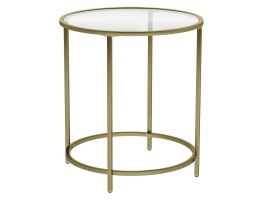 Table d'appoint ronde - verre trempé - 50x55x50 cm - or