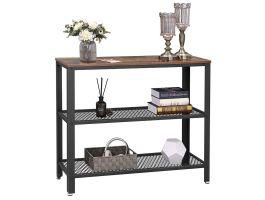 Table console haute - 2 étagères - look industriel - 101,5x80x35 cm - brun/noir