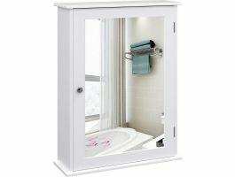 Armoire avec miroir pour salle de bain - 41x14x60 cm - blanc