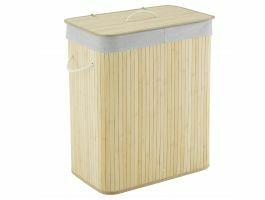 Panier à linge - 2 compartiments - 100 litres - 52x63x32 cm - bambou