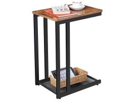 Table d'appoint - avec grille métallique - 48x65x35 cm - brun foncé
