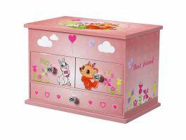Boîte à bijoux musicale - avec tiroirs et miroirs - rose