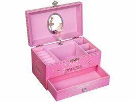 Boîte à bijoux musicale - ballerine et licorne - rose