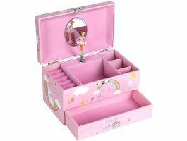 "Boîte à bijoux musicale - mélodie ""La Licorne"" - rose"